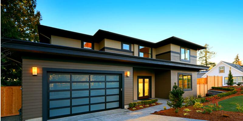 white glass garage door - Ed Garage Door Repair Inc